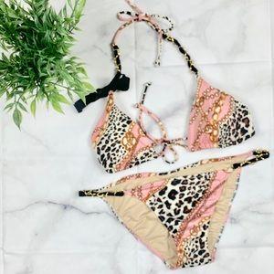 Victoria Secret Leopard chainlink Bikini Size Sm